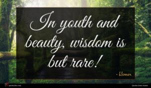 Homer quote : In youth and beauty ...