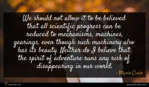 Marie Curie quote : We should not allow ...
