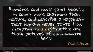 Photo of Oliver Goldsmith quote : Romance and novel paint …