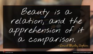 Gerard Manley Hopkins quote : Beauty is a relation ...
