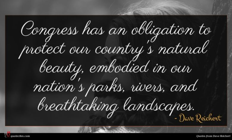 Congress has an obligation to protect our country's natural beauty, embodied in our nation's parks, rivers, and breathtaking landscapes.