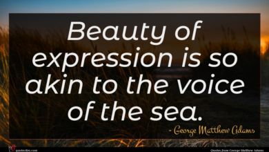 Photo of George Matthew Adams quote : Beauty of expression is …