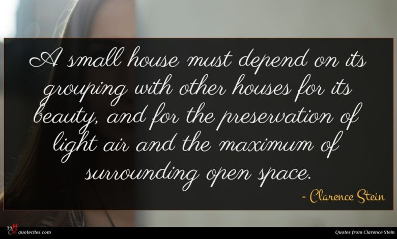 A small house must depend on its grouping with other houses for its beauty, and for the preservation of light air and the maximum of surrounding open space.