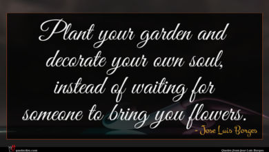 Photo of Jose Luis Borges quote : Plant your garden and …
