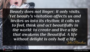 John O'Donohue quote : Beauty does not linger ...