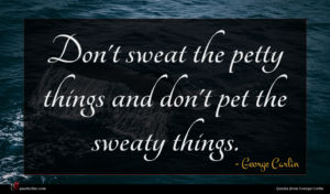 George Carlin quote : Don't sweat the petty ...