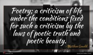 Matthew Arnold quote : Poetry a criticism of ...