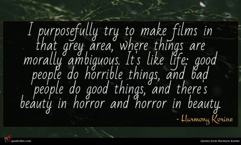 I purposefully try to make films in that grey area, where things are morally ambiguous. It's like life: good people do horrible things, and bad people do good things, and there's beauty in horror and horror in beauty.
