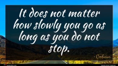 Photo of Confucius quote : It does not matter …