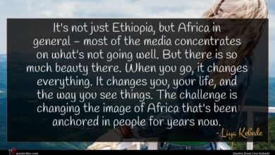 Photo of Liya Kebede quote : It's not just Ethiopia …