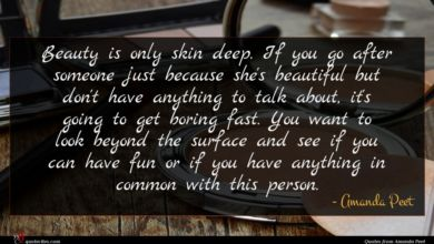 Photo of Amanda Peet quote : Beauty is only skin …