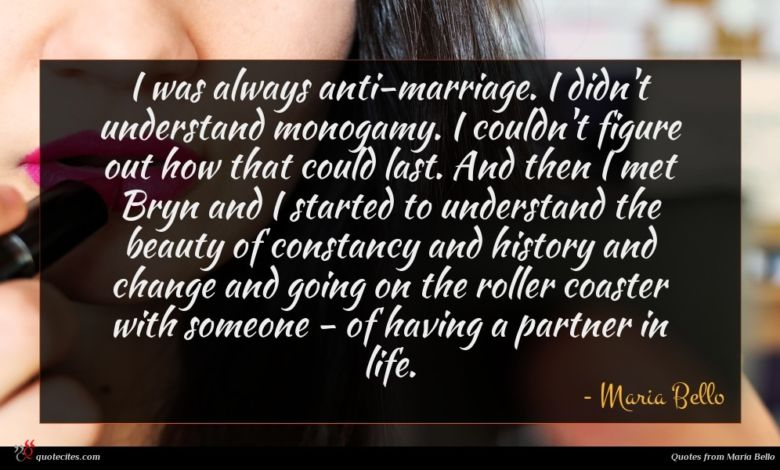 I was always anti-marriage. I didn't understand monogamy. I couldn't figure out how that could last. And then I met Bryn and I started to understand the beauty of constancy and history and change and going on the roller coaster with someone - of having a partner in life.