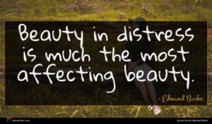 Edmund Burke quote : Beauty in distress is ...