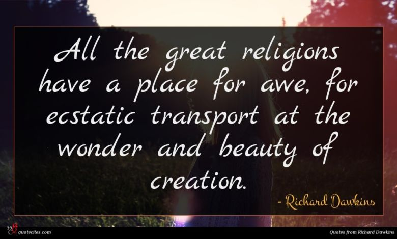 All the great religions have a place for awe, for ecstatic transport at the wonder and beauty of creation.