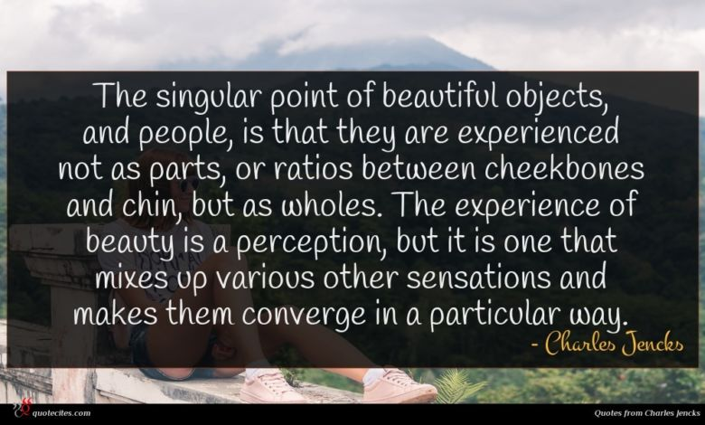 The singular point of beautiful objects, and people, is that they are experienced not as parts, or ratios between cheekbones and chin, but as wholes. The experience of beauty is a perception, but it is one that mixes up various other sensations and makes them converge in a particular way.