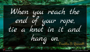 Franklin D. Roosevelt quote : When you reach the ...
