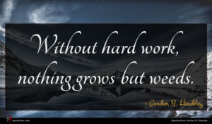 Gordon B. Hinckley quote : Without hard work nothing ...