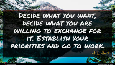 Photo of H. L. Hunt quote : Decide what you want …