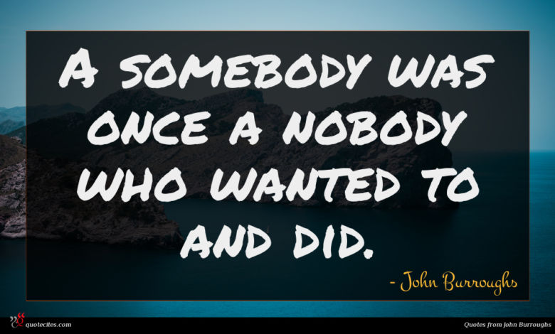 A somebody was once a nobody who wanted to and did.