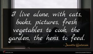 Jeanette Winterson quote : I live alone with ...