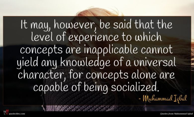 It may, however, be said that the level of experience to which concepts are inapplicable cannot yield any knowledge of a universal character, for concepts alone are capable of being socialized.