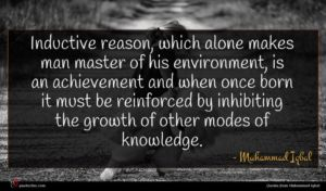 Muhammad Iqbal quote : Inductive reason which alone ...