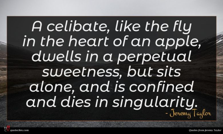 A celibate, like the fly in the heart of an apple, dwells in a perpetual sweetness, but sits alone, and is confined and dies in singularity.