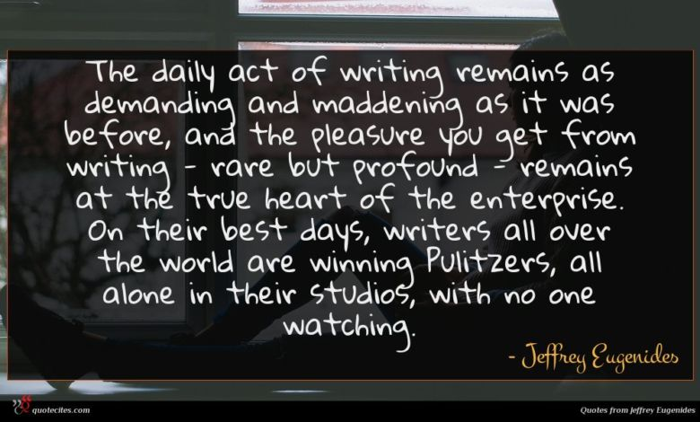 The daily act of writing remains as demanding and maddening as it was before, and the pleasure you get from writing - rare but profound - remains at the true heart of the enterprise. On their best days, writers all over the world are winning Pulitzers, all alone in their studios, with no one watching.