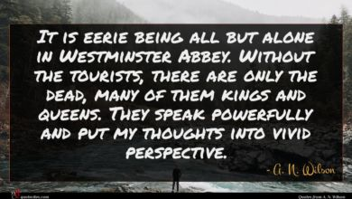Photo of A. N. Wilson quote : It is eerie being …