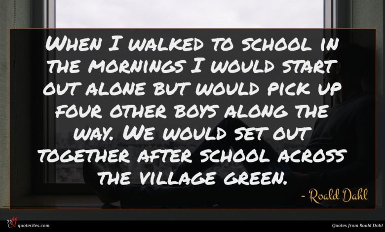 When I walked to school in the mornings I would start out alone but would pick up four other boys along the way. We would set out together after school across the village green.