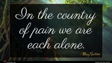 Photo of May Sarton quote : In the country of …