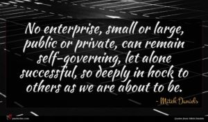 Mitch Daniels quote : No enterprise small or ...