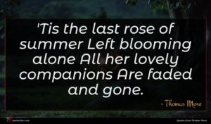 Thomas More quote : Tis the last rose ...