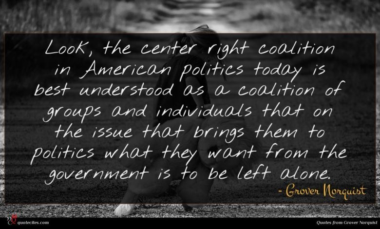 Look, the center right coalition in American politics today is best understood as a coalition of groups and individuals that on the issue that brings them to politics what they want from the government is to be left alone.