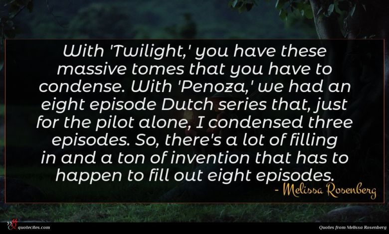 With 'Twilight,' you have these massive tomes that you have to condense. With 'Penoza,' we had an eight episode Dutch series that, just for the pilot alone, I condensed three episodes. So, there's a lot of filling in and a ton of invention that has to happen to fill out eight episodes.