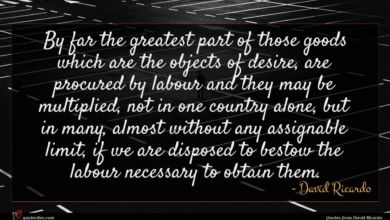 Photo of David Ricardo quote : By far the greatest …