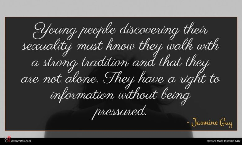 Photo of Jasmine Guy quote : Young people discovering their …