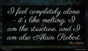 Alain Robert quote : I feel completely alone ...