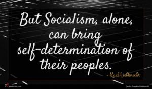 Karl Liebknecht quote : But Socialism alone can ...