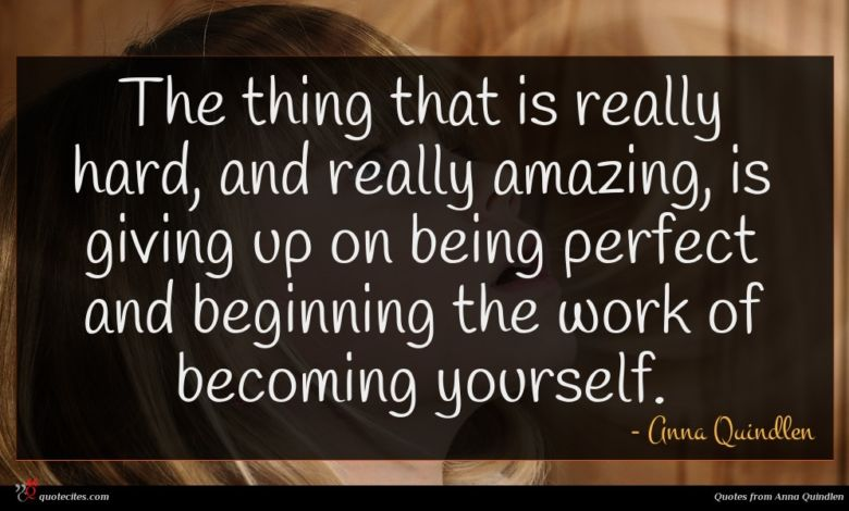 The thing that is really hard, and really amazing, is giving up on being perfect and beginning the work of becoming yourself.