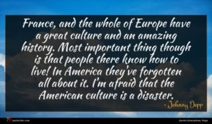 Johnny Depp quote : France and the whole ...