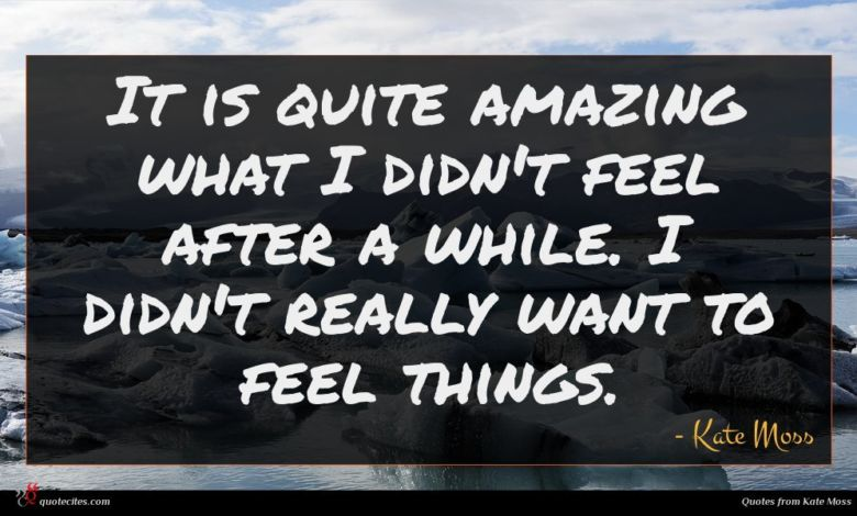 It is quite amazing what I didn't feel after a while. I didn't really want to feel things.