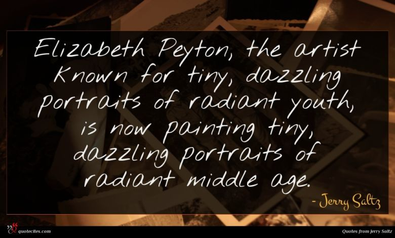 Elizabeth Peyton, the artist known for tiny, dazzling portraits of radiant youth, is now painting tiny, dazzling portraits of radiant middle age.
