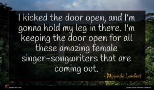Miranda Lambert quote : I kicked the door ...