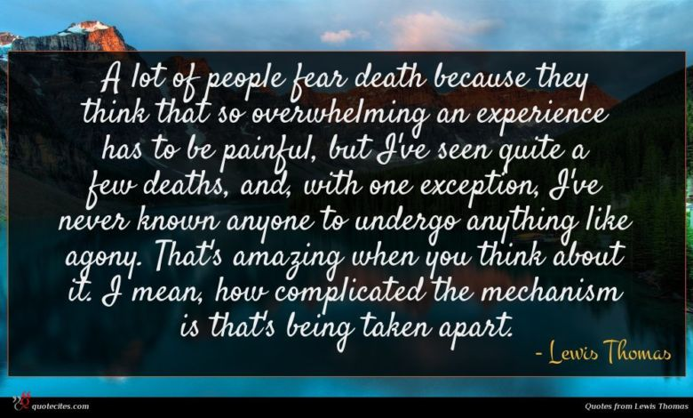 A lot of people fear death because they think that so overwhelming an experience has to be painful, but I've seen quite a few deaths, and, with one exception, I've never known anyone to undergo anything like agony. That's amazing when you think about it. I mean, how complicated the mechanism is that's being taken apart.