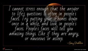 Amy Poehler quote : I cannot stress enough ...