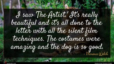 Photo of Florence Welch quote : I saw 'The Artist …
