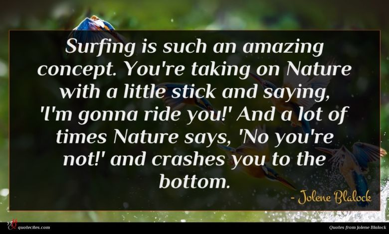 Surfing is such an amazing concept. You're taking on Nature with a little stick and saying, 'I'm gonna ride you!' And a lot of times Nature says, 'No you're not!' and crashes you to the bottom.