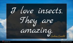 Andrea Arnold quote : I love insects They ...