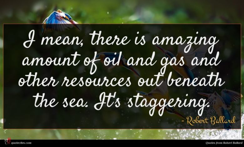 I mean, there is amazing amount of oil and gas and other resources out beneath the sea. It's staggering.